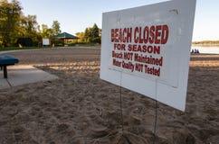 Οι κολυμβητές προειδοποίησης σημαδιών ότι η παραλία είναι κλειστή για την εποχή, ποιότητα νερού δεν εξετάζονται Λήφθείτε το φθινό στοκ φωτογραφία με δικαίωμα ελεύθερης χρήσης