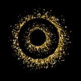 Οι κύκλοι χρυσού ακτινοβολούν πεταλούδες Όμορφες σκιαγραφίες θερινής κίτρινες χρυσές σύστασης στο μαύρο υπόβαθρο ξέν. διανυσματική απεικόνιση