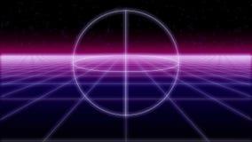Οι μορφές Synthwave σε ένα αναδρομικό υπόβαθρο τρισδιάστατο δίνουν ελεύθερη απεικόνιση δικαιώματος