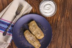 οι ρόλοι λάχανων γέμισαν με το επίγεια βόειο κρέας και το ρύζι που εξυπηρετήθηκαν σε ένα άσπρο πιάτο σε έναν παλαιό αγροτικό πίνα στοκ φωτογραφίες με δικαίωμα ελεύθερης χρήσης