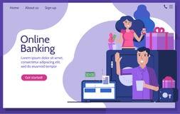 Οι σε απευθείας σύνδεση τραπεζικές εργασίες και στέλνουν τα χρήματα διανυσματική απεικόνιση