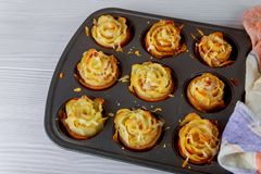 Οι φέτες της πατάτας τηγάνισαν χρυσό και το μπέϊκον, τυρί στοκ εικόνα