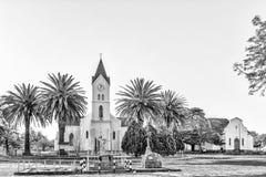 Ολλανδικές ανασχηματισμένες εκκλησία και αίθουσα μητέρων σε Brandfort μονοχρωματικός στοκ εικόνες με δικαίωμα ελεύθερης χρήσης