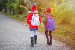 0b95a3bfd2e Ομάδα παιδιών που πηγαίνουν στο σχολείο μαζί, πίσω στο σχολείο στοκ  φωτογραφία με δικαίωμα ελεύθερης