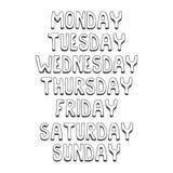 ονόματα των ημερών της εβδομάδας Hand-drawn ονόματα των ημερών της εβδομάδας στις παχιές επιστολές σε ένα άσπρο υπόβαθρο επίσης c απεικόνιση αποθεμάτων