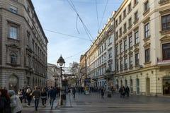 Οδός του Michael πριγκήπων οδών Mihailova Knez στο κέντρο της πόλης Βελιγραδι'ου, Σερβία στοκ εικόνες