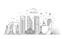 Ορίζοντας της Πόλης του Μεξικού σε ένα άσπρο υπόβαθρο Επίπεδη διανυσματική απεικόνιση στοκ εικόνες