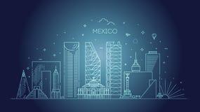 Ορίζοντας της Πόλης του Μεξικού σε ένα άσπρο υπόβαθρο Επίπεδη διανυσματική απεικόνιση στοκ φωτογραφίες με δικαίωμα ελεύθερης χρήσης
