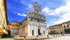 Ορόσημα της Ιταλίας, καθεδρικός ναός SAN Michele, Lucca, Τοσκάνη, Ιταλία στοκ εικόνες