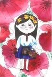 Ουκρανικό κορίτσι στα λουλούδια παπαρουνών διανυσματική απεικόνιση