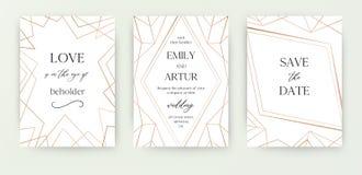 Ο γάμος προσκαλεί, η πρόσκληση εκτός από το σύγχρονο σχέδιο καρτών ημερομηνίας με γεωμετρικό χρυσό αυξήθηκε, χαλκός, μεταλλικός α απεικόνιση αποθεμάτων