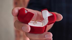 Ο γαμπρός κρατά στο κιβώτιο χεριών χρυσών γαμήλιων δαχτυλιδιών του Κινηματογράφηση σε πρώτο πλάνο χρυσή διακόσμηση δώρων κόσμημα  απόθεμα βίντεο