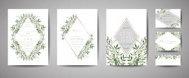 Ο εκλεκτής ποιότητας γάμος λουλουδιών πολυτέλειας σώζει την ημερομηνία, Floral συλλογή καρτών πρόσκλησης με το χρυσό πλαίσιο φύλλ διανυσματική απεικόνιση