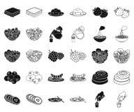 Ο ευώδης Μαύρος επιδορπίων, εικονίδια περιλήψεων στην καθορισμένη συλλογή για το σχέδιο Τρόφιμα και διανυσματικός Ιστός αποθεμάτω ελεύθερη απεικόνιση δικαιώματος