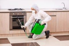 Ο επαγγελματικός ανάδοχος που κάνει τον έλεγχο παρασίτων στην κουζίνα στοκ εικόνα