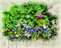 Ο ζωηρόχρωμος κήπος ανθίζει την απεικόνιση Ψηφιακό watercolor διανυσματική απεικόνιση