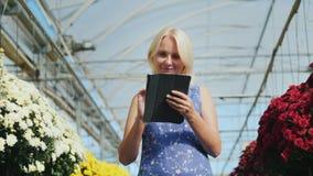 Ο ιδιοκτήτης μιας έννοιας μικρών επιχειρήσεων Μια γυναίκα εργάζεται με μια ταμπλέτα σε έναν βρεφικό σταθμό λουλουδιών φιλμ μικρού μήκους