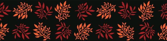 Ο κήπος Boho αφήνει τα άνευ ραφής διανυσματικά σύνορα Βοτανικές μορφές φύλλων απεικόνιση αποθεμάτων