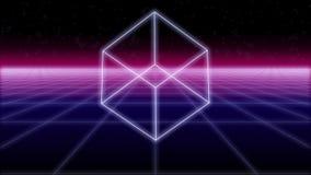 Ο κύβος Synthwave σε ένα αναδρομικό υπόβαθρο τρισδιάστατο δίνει στοκ φωτογραφία με δικαίωμα ελεύθερης χρήσης