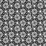 Ο Μαύρος στο άσπρο άνευ ραφής διανυσματικό σχέδιο σκιαγραφιών λουλουδιών Συρμένη χέρι floral σύσταση διανυσματική απεικόνιση