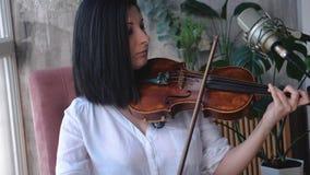 Ο μουσικός γυναικών αποδίδει με το βιολί απόθεμα βίντεο