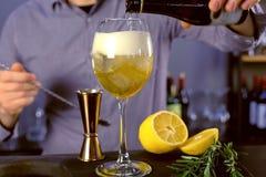 Ο μπάρμαν χύνει κάποιο λαμπιρίζοντας κρασί από ένα μπουκάλι wineglass με το μαγειρεύοντας κοκτέιλ οινοπνεύματος πάγου και ποτού Τ στοκ φωτογραφία με δικαίωμα ελεύθερης χρήσης