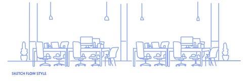 Ο δημιουργικός γραφείων σύγχρονος χώρος εργασίας κεντρικών πανεπιστημιουπόλεων εργασιακών χώρων ομο-εργαζόμενος κενός κανένας άνθ διανυσματική απεικόνιση