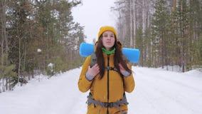 Ο τουρίστας κοριτσιών πηγαίνει σε έναν χειμερινό δασικό δρόμο με ένα σακίδιο πλάτης στους ώμους της απόθεμα βίντεο