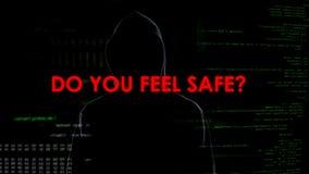 Ο χάκερ δίνει να απειλήσει το μήνυμα στη μυστικότητα και την εθνική ασφάλεια, τρομοκρατία στοκ φωτογραφία