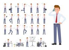 Ο χαρακτήρας κινουμένων σχεδίων του ατόμου γραφείων διαφορετικός θέτει, σύνολο σχεδίου συγκινήσεων ελεύθερη απεικόνιση δικαιώματος
