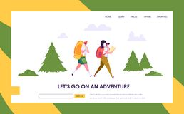 Ο χαρακτήρας τουριστών ζεύγους με το σακίδιο πλάτης πηγαίνει στη διαδρομή στη δασική προσγειωμένος σελίδα Υπαίθρια στρατοπέδευση  απεικόνιση αποθεμάτων