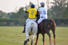Ο παίκτης και το άλογο πόλο αλόγων είναι μάχη στην αντιστοιχία πόλο στοκ φωτογραφία με δικαίωμα ελεύθερης χρήσης