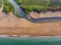 Î•,stuaries av flodNedaen på Peloponnesse, Grekland royaltyfria foton