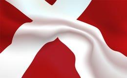 Δανική σημαία υποβάθρου στις πτυχές Βασίλειο του εμβλήματος της Δανίας Σημαία με την έννοια λωρίδων επάνω στενή, τυποποιημένη Δαν ελεύθερη απεικόνιση δικαιώματος