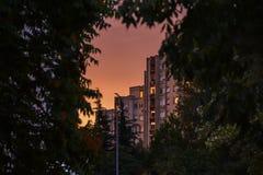 Δείτε ένα ψηλό κτίριο στο κατοικημένο μέρος Βελιγραδι'ου, Σερβία στοκ φωτογραφία με δικαίωμα ελεύθερης χρήσης