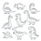Δεινόσαυροι περιλήψεων Χαριτωμένο μωρών του Dino αστείο τεράτων διανυσματικό χέρι δεινοσαύρων ιουρασικών άγριας φύσης δράκων ζώων διανυσματική απεικόνιση