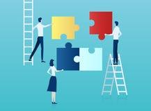 Διάνυσμα των επιχειρηματιών που συγκεντρώνουν έναν γρίφο διανυσματική απεικόνιση