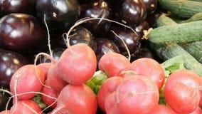 Διάφορα λαχανικά στο μετρητή της αγοράς παντοπωλείων Υγιή τρόφιμα, ίνα, διατροφή, επιγραφή στα ουγγρικά απόθεμα βίντεο