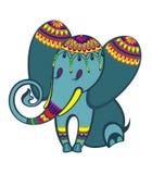 Διακοσμητικός αστείος ελέφαντας στη σκιαγραφία επίσης corel σύρετε το διάνυσμα απεικόνισης διανυσματική απεικόνιση