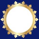 Διακοσμητικό χρυσό πλαίσιο με το αφηρημένο floral σχέδιο σε ένα σκούρο μπλε υπόβαθρο Στρογγυλή σύνθεση σχεδίων διανυσματική απεικόνιση