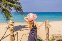 Διακοπές στο τροπικό νησί Γυναίκα στο καπέλο που απολαμβάνει τη θέα θάλασσας από την ξύλινη γέφυρα στοκ εικόνες