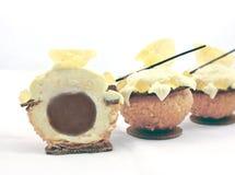 Διαμορφωμένες ορχιδέα ζελατίνα λεμονιών και ριπή κρέμας σοκολάτας που τεμαχίζεται στοκ εικόνες