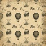 Διαμορφωμένο Steampunk έγγραφο - Derigible - αεροσκάφη - μπαλόνι ζεστού αέρα - εκλεκτής ποιότητας αεροπλάνα ελεύθερη απεικόνιση δικαιώματος