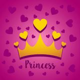 Διανυσματική έννοια απεικόνισης της κορώνας πριγκηπισσών με τις καρδιές Εικονίδιο στο ρόδινο υπόβαθρο ελεύθερη απεικόνιση δικαιώματος