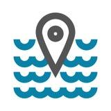 Διανυσματική έννοια απεικόνισης του εικονιδίου σημαδιών geo θέσεων θάλασσας Ο Μαύρος στην άσπρη ανασκόπηση διανυσματική απεικόνιση