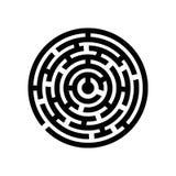 Διανυσματική έννοια απεικόνισης του λαβυρίνθου λαβύρινθων κύκλων τρισδιάστατο λευκό αντικειμένου ανασκόπησης απομονωμένο εικονίδι διανυσματική απεικόνιση