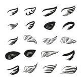 Διανυσματική έννοια απεικόνισης του λογότυπου φτερών τρισδιάστατο λευκό αντικειμένου ανασκόπησης απομονωμένο εικονίδιο ελεύθερη απεικόνιση δικαιώματος
