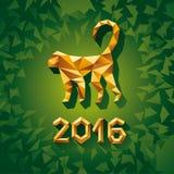 Διανυσματική έννοια απεικόνισης του χρυσού polygonal πιθήκου Σύμβολο του 2016 διανυσματική απεικόνιση
