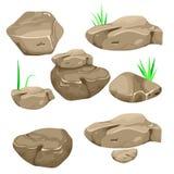 Διανυσματική απεικόνιση ενός συνόλου χωρισμένων λίθων, πετρών και πετρών κινούμενων σχεδίων των διάφορων μορφών απεικόνιση αποθεμάτων