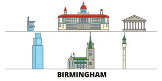 Διανυσματική απεικόνιση Ηνωμένων, Μπέρμιγχαμ επίπεδη ορόσημων Πόλη Ηνωμένων, Μπέρμιγχαμ γραμμών με το διάσημο ταξίδι απεικόνιση αποθεμάτων